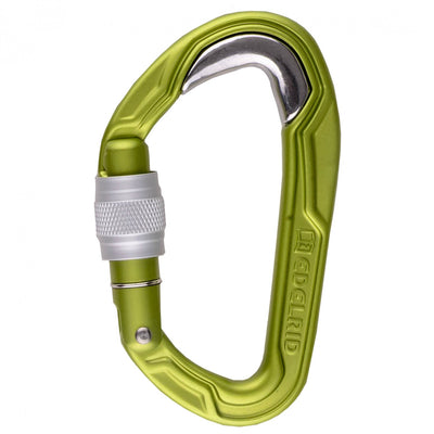 Edelrid Bulletproof Screw carabiner, in green colour with silver screw