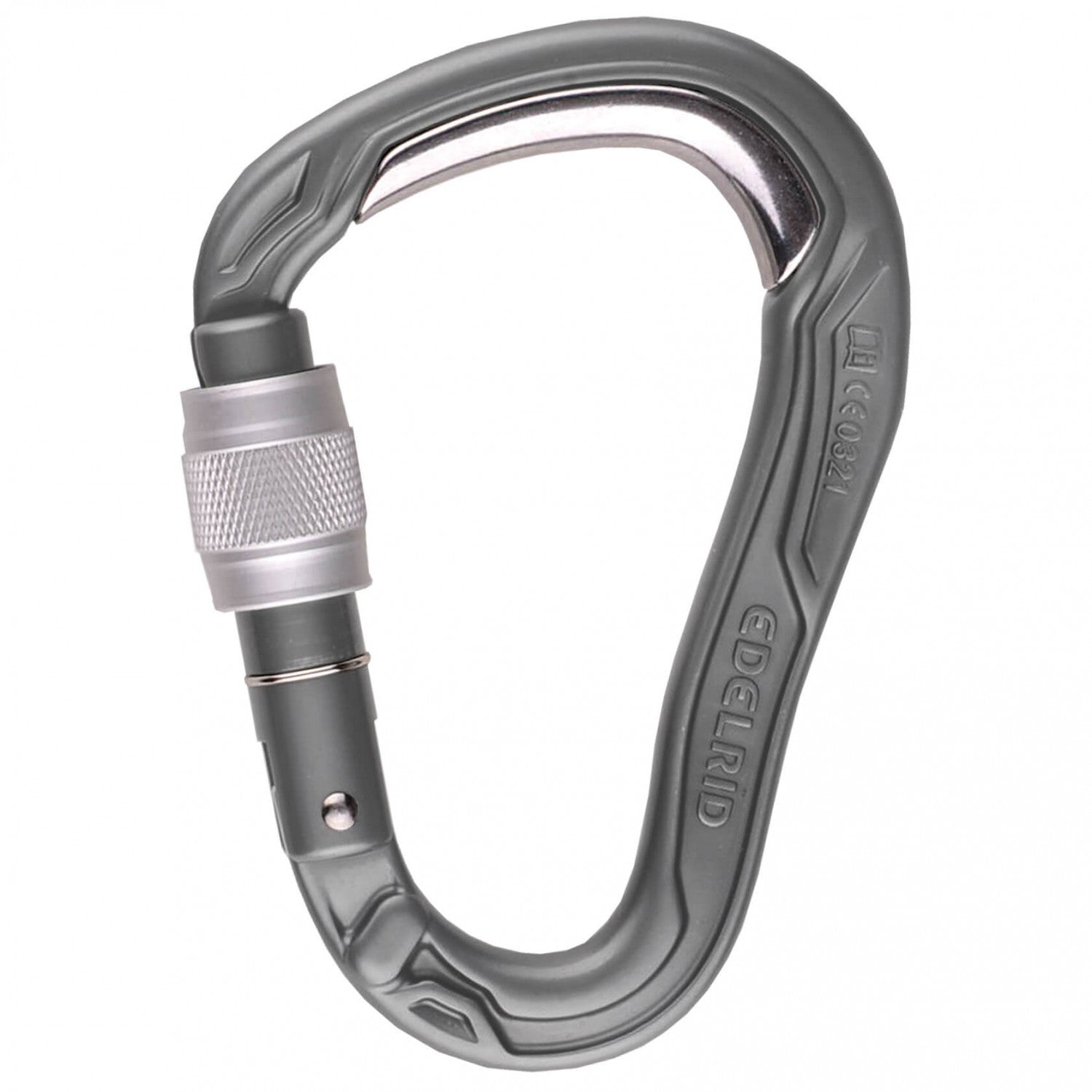 Edelrid HMS Bulletproof Screw carabiner, in grey colour with a silver screw