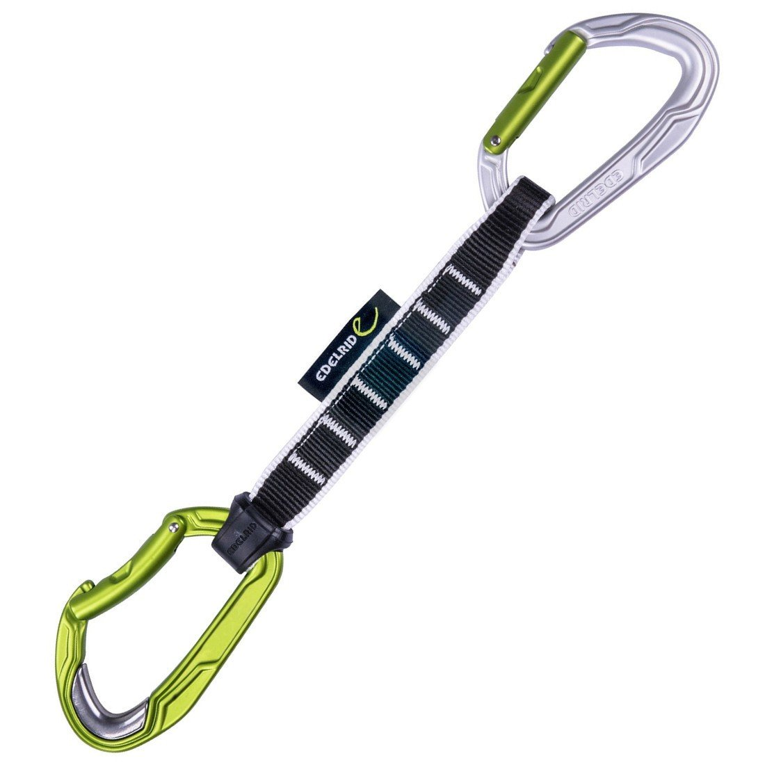 Edelrid Bulletproof Quickdraw 18cm, with black sling and silver/green carabiners