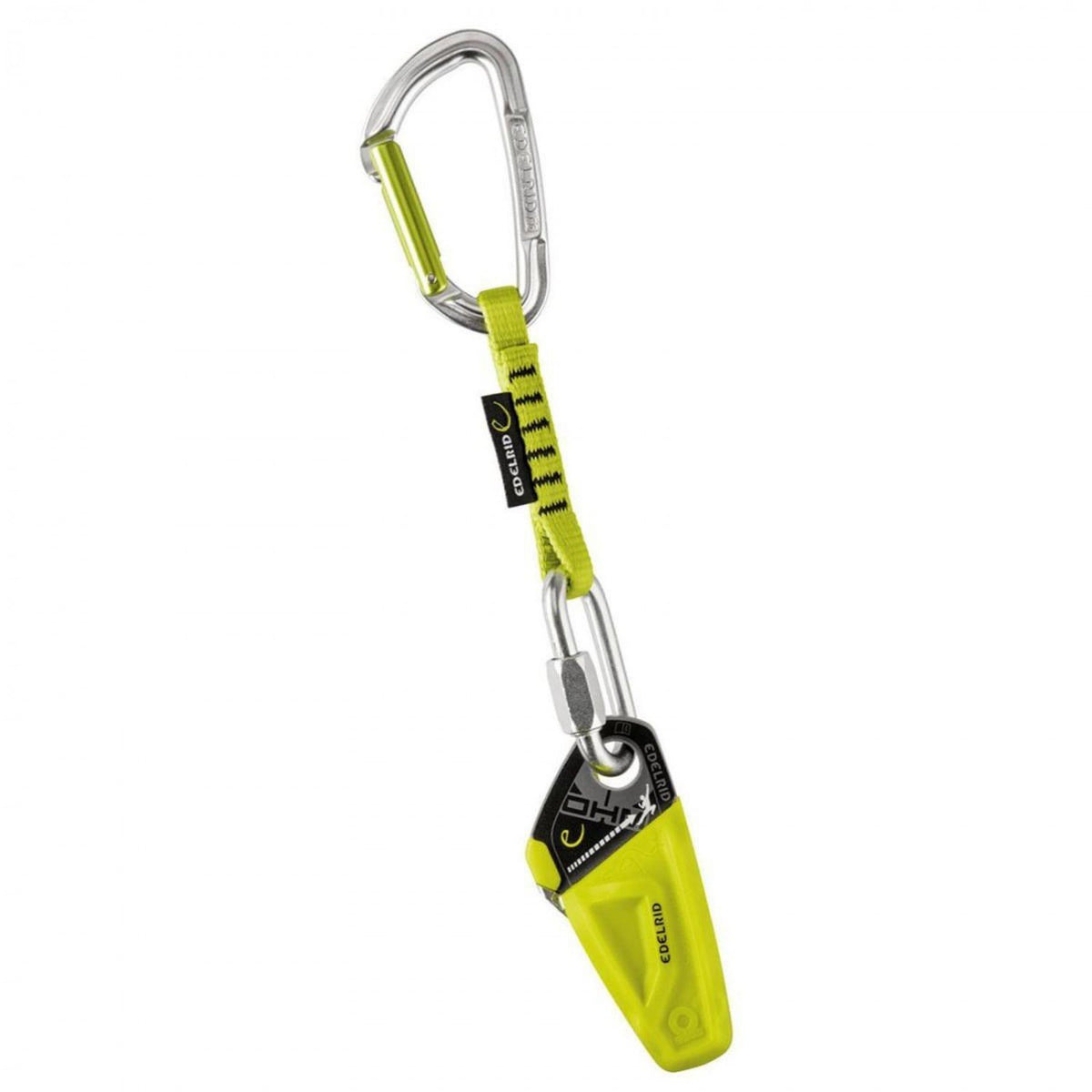 Edelrid Ohm Assisted-braking Resistor, friction climbing device shown with quickdraw in green/silver