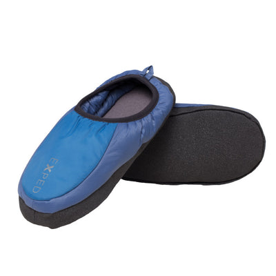 Exped Camp Slippers, inner side view in blue colours with grey sole