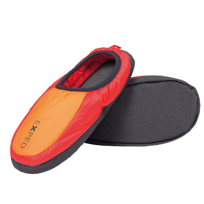 Exped Camp Slippers, inner side view in red/orange colours with grey sole in Red