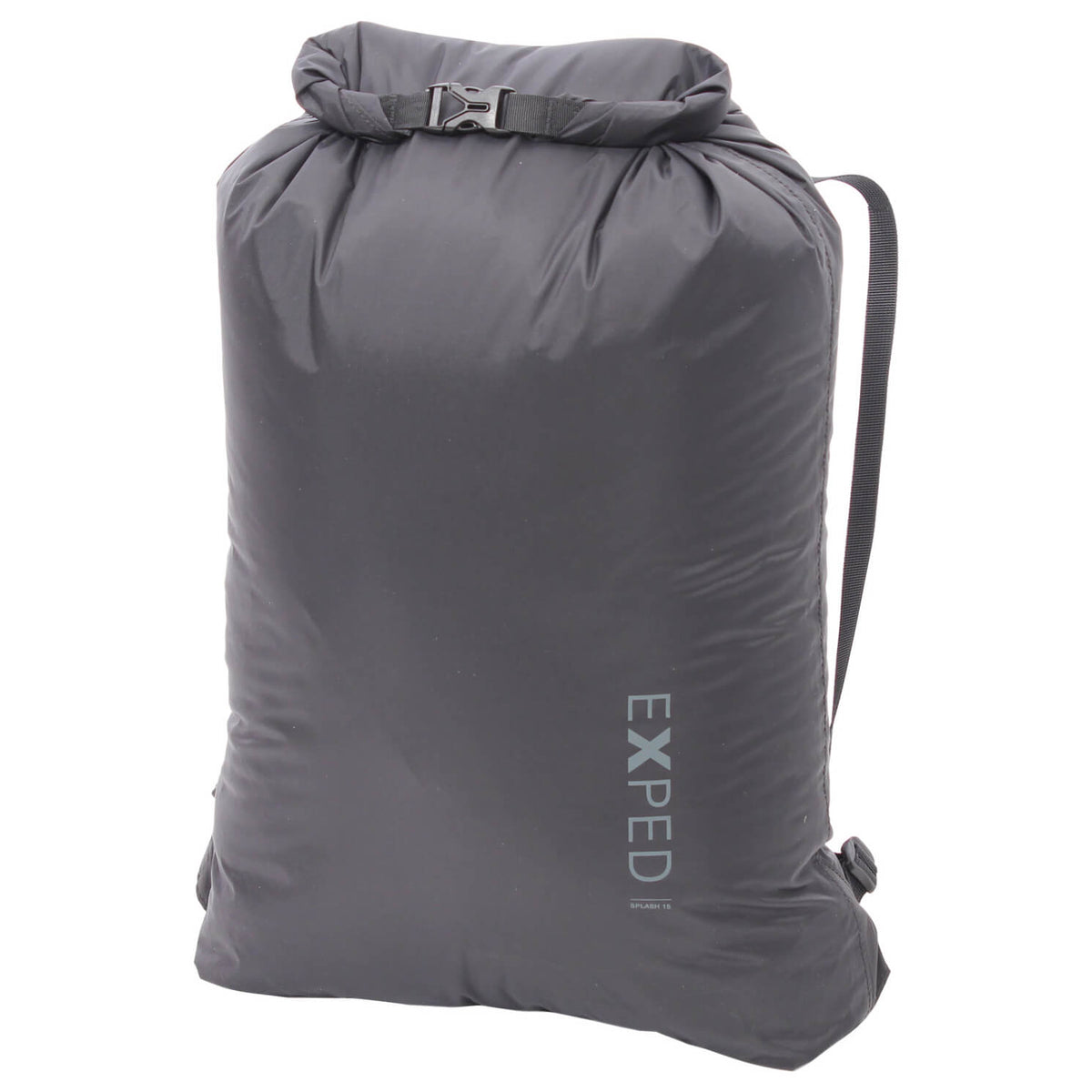 exped splash 15 drybag, front view shown folded over in black colour