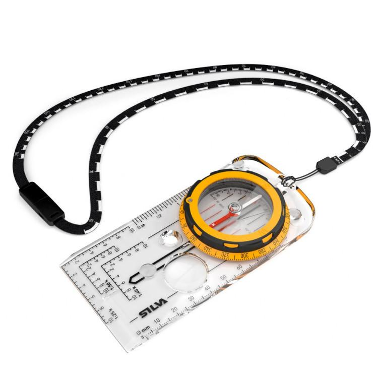 Silva Expedition compass, shown laid flat with black lanyard