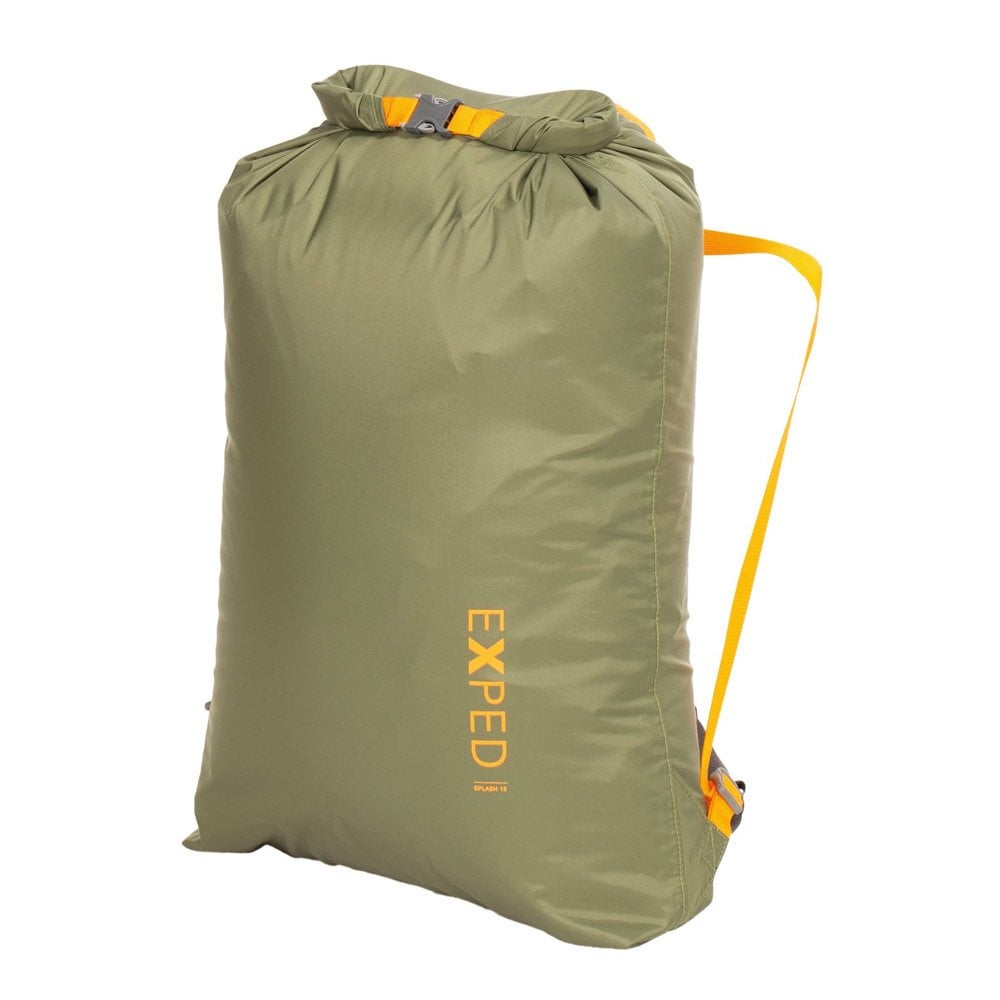 exped splash 15 drybag, front view shown folded over in forest colour