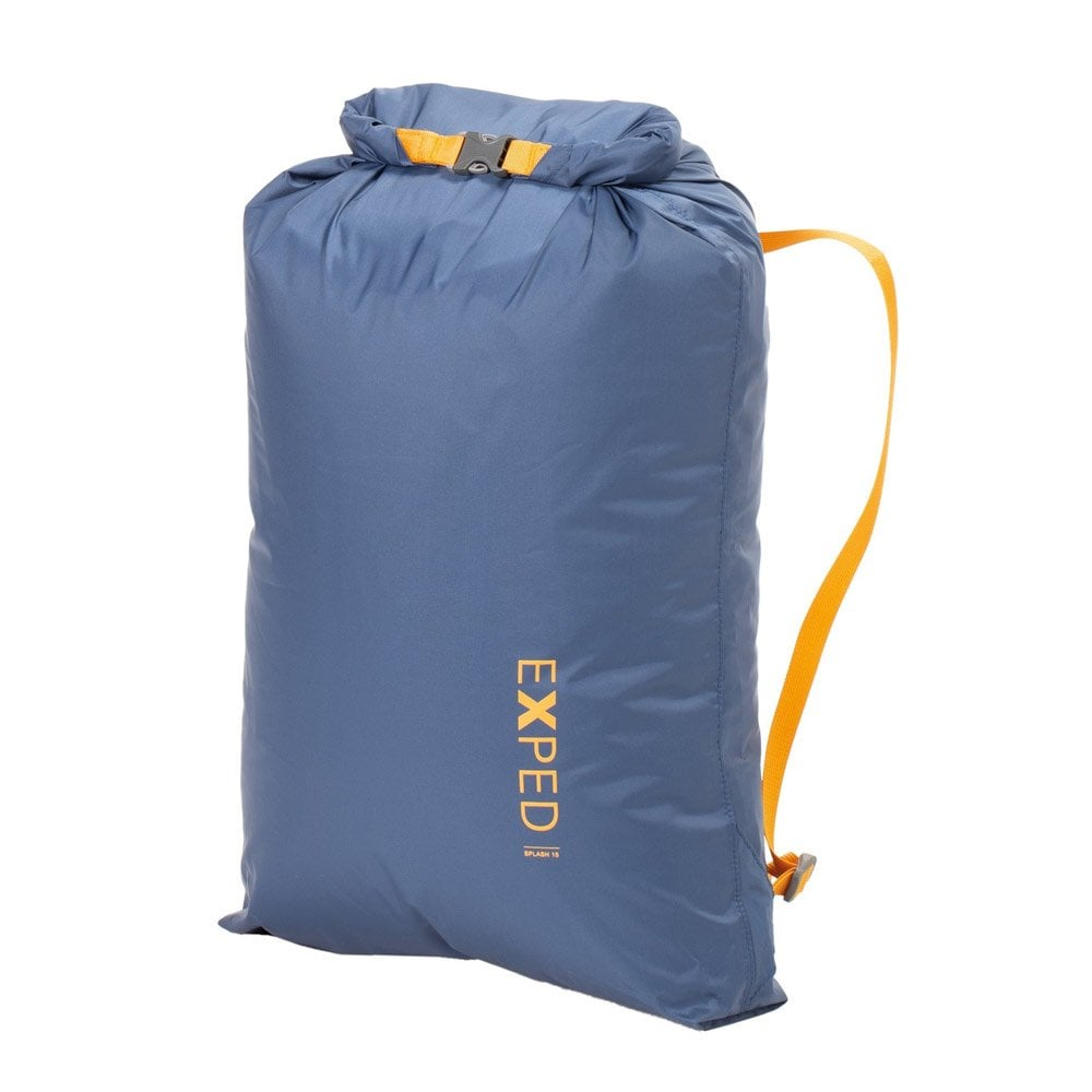 exped splash 15 drybag, front view shown folded over in navy colour