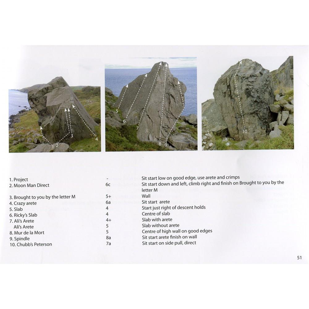 Fairhead Bouldering guide, example pages showing photos and topos