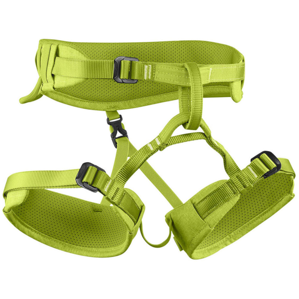 Edelrid Finn III Kids climbing Harness, front/side view in green colour