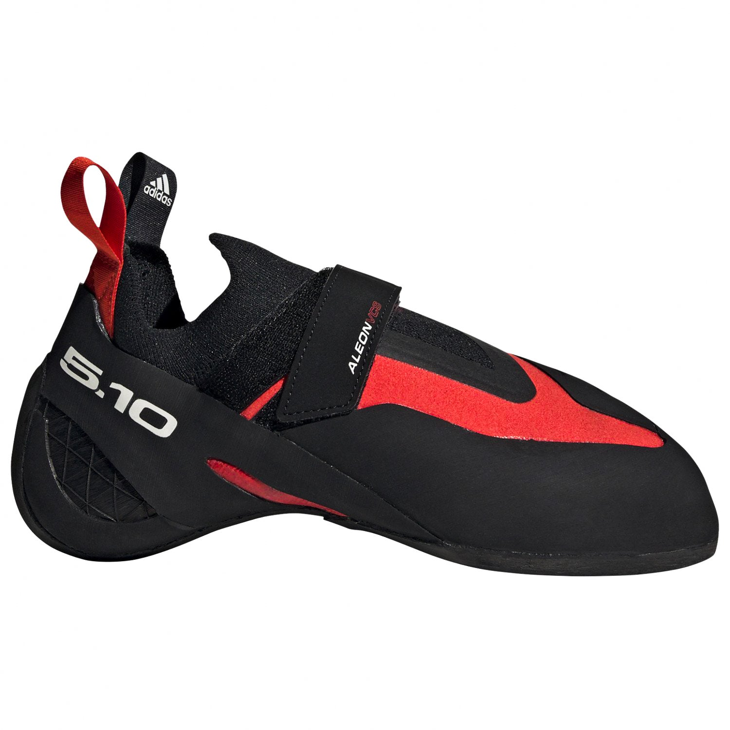 Five Ten Aleon climbing shoe, outer side view in red and black colours