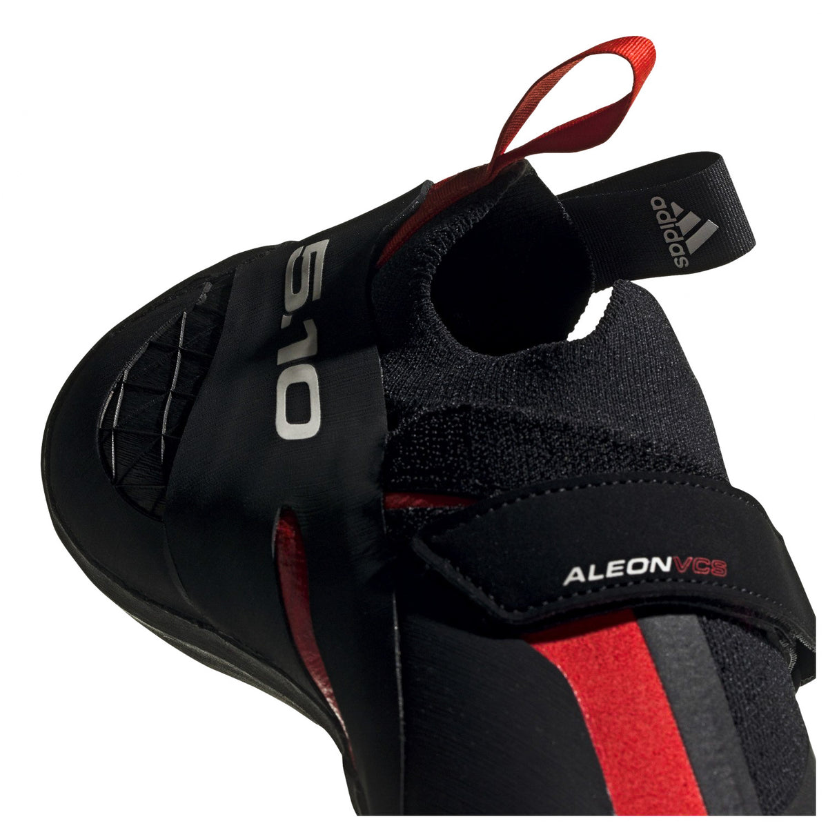 Five Ten Aleon climbing shoe, close up of the strap and entry point