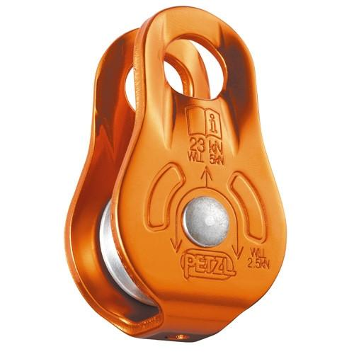 Petzl Fixe Pulley, front/side view in orange colour