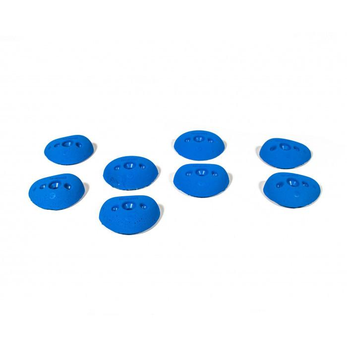 Bleaustone Training Range Flat 0º Crimp climbing holds, 8 shown in blue colour