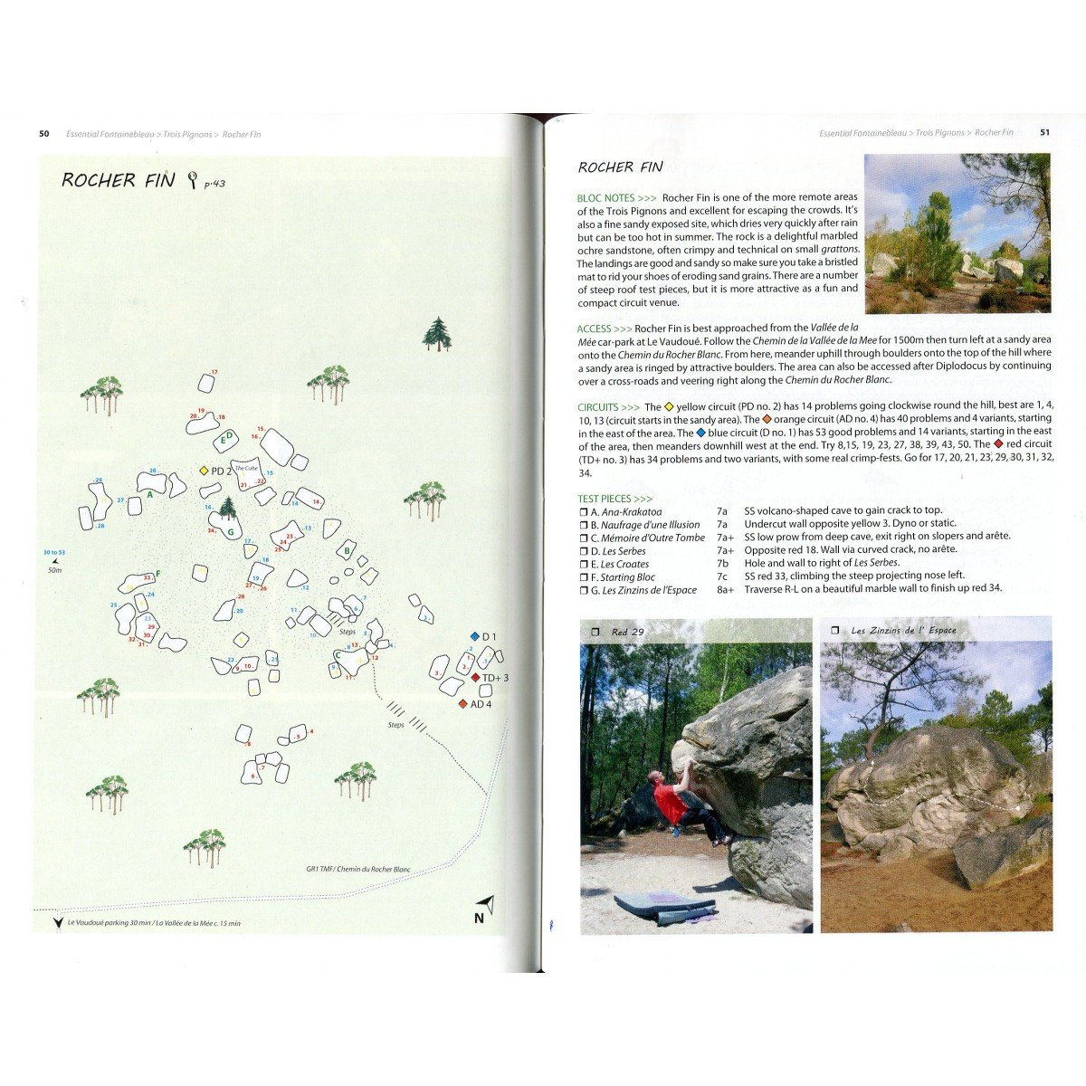 Essential Fontainebleau, example pages showing maps and photos
