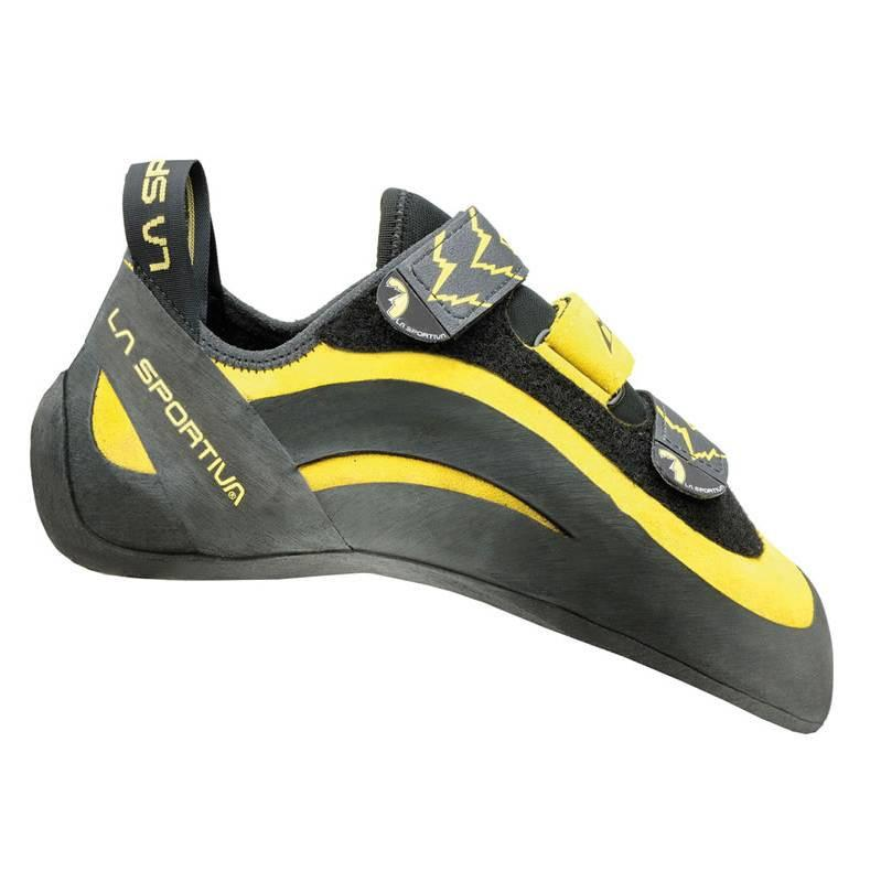 La Sportiva Miura VS climbing shoe, in black and yellow colours
