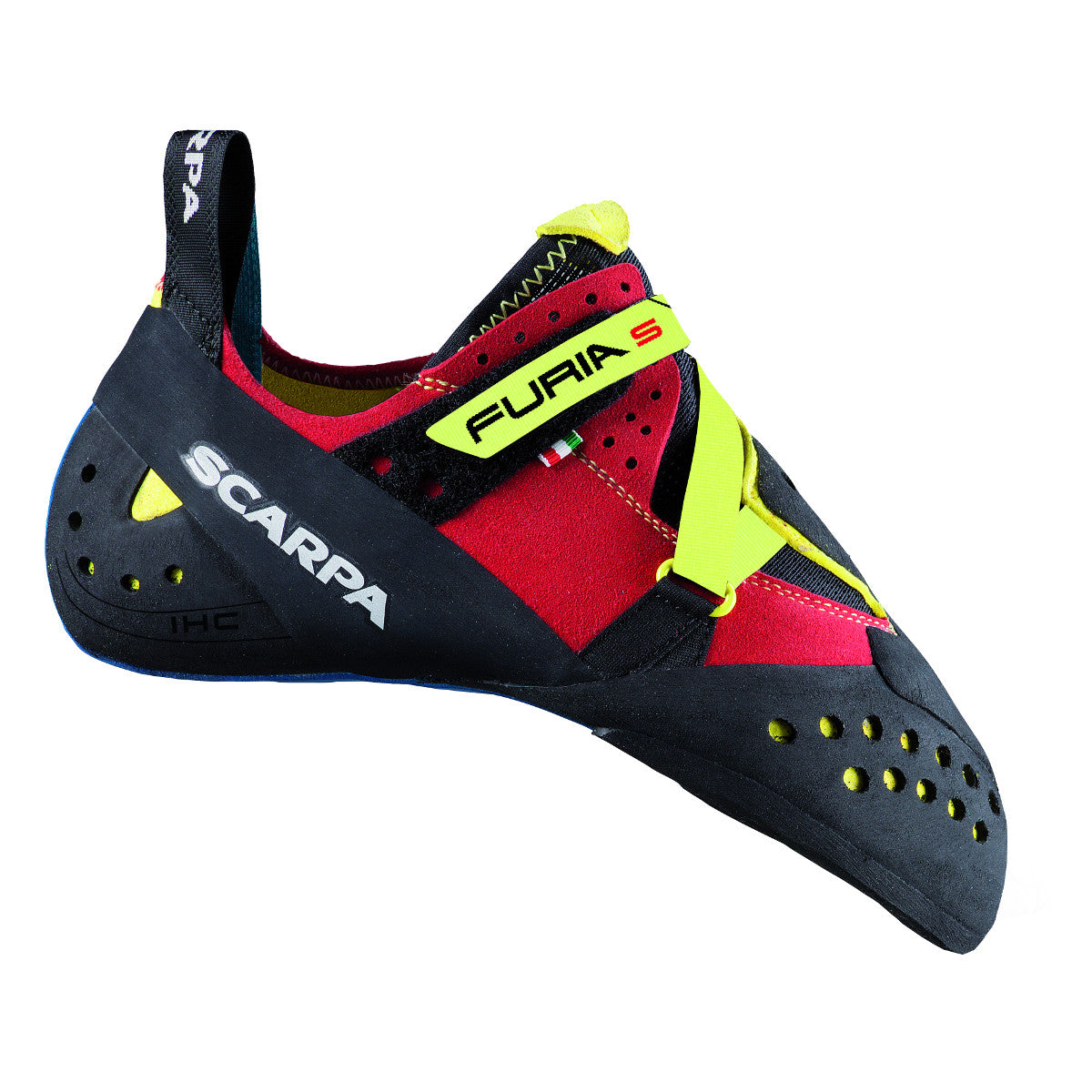 Scarpa Furia S climbing shoe, in black, red and yellow colours