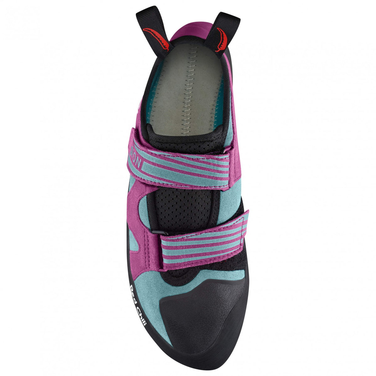 Red Chili Fusion VCR Womens climbing shoe, view from above showing strap detail