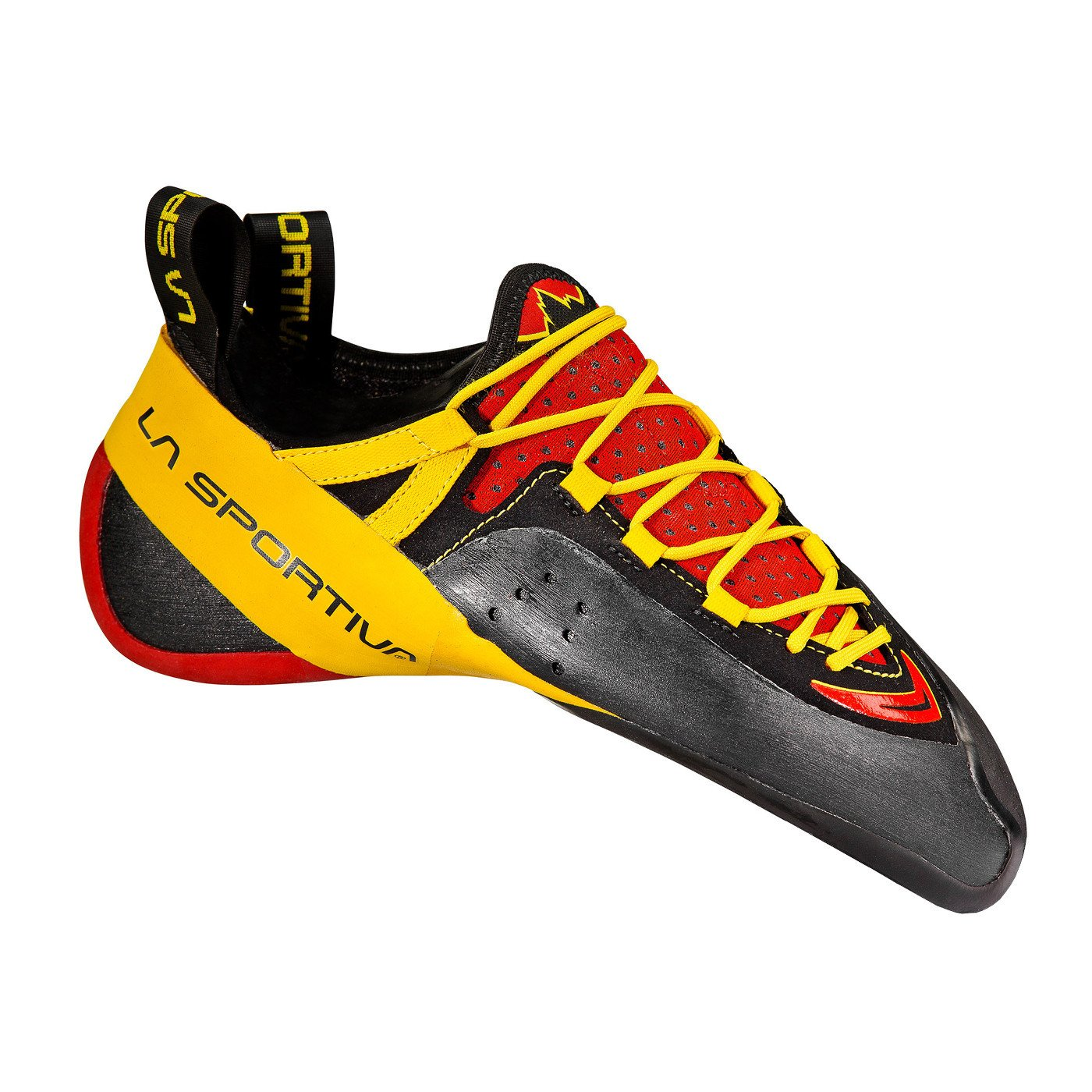 La Sportiva Genius climbing shoe, in black, red and yellow colours