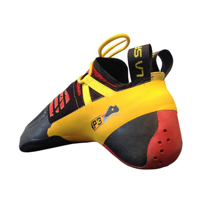La Sportiva Genius climbing shoe, rear view showing heel and inside of the shoe design detail