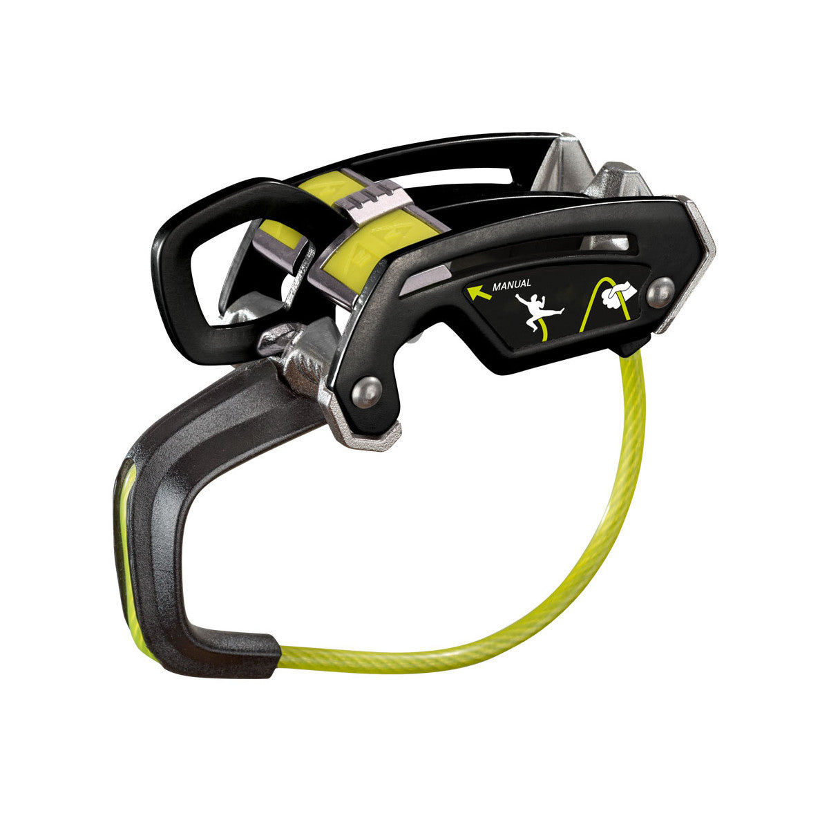 Edelrid Giga Jul belay device, shown side on in Black colour