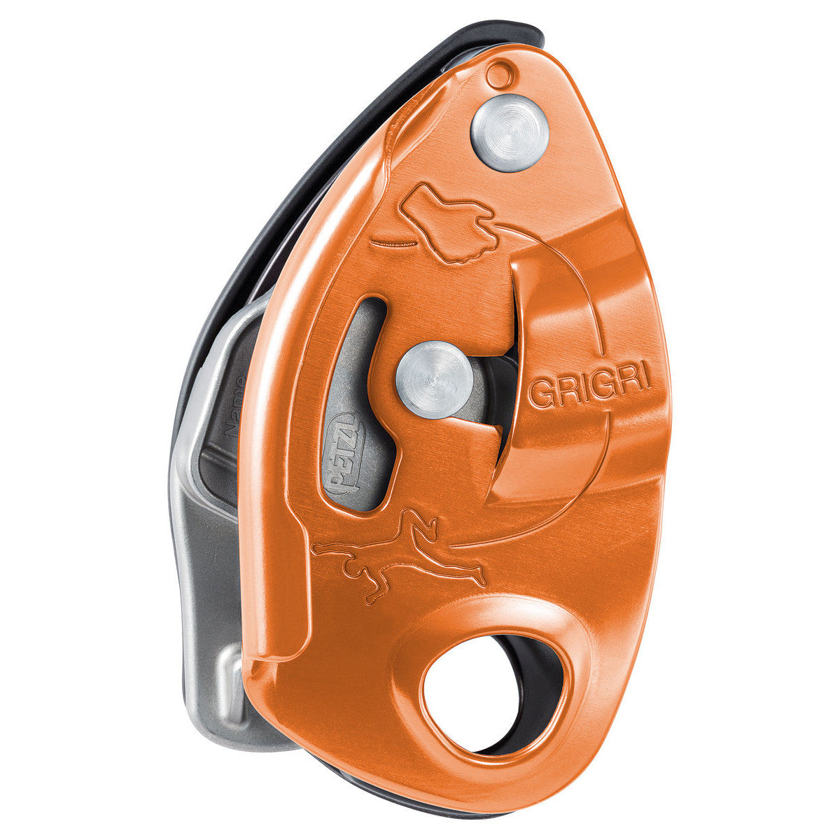 Petzl Grigri belay device, showing side view in orange colour