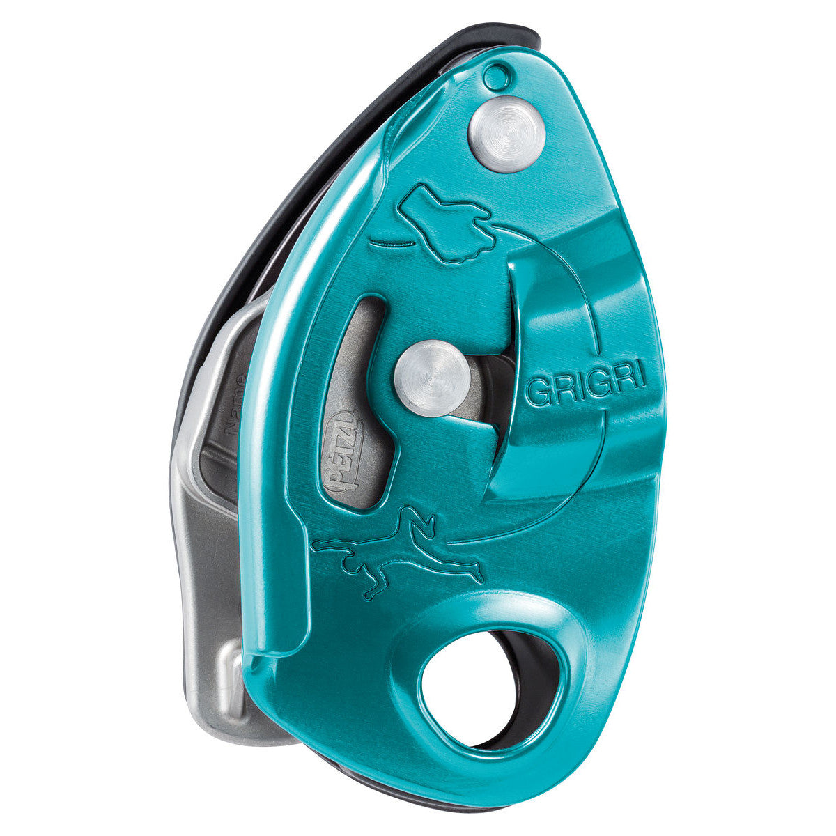 Petzl Grigri belay device, showing side view in Turquoise colour