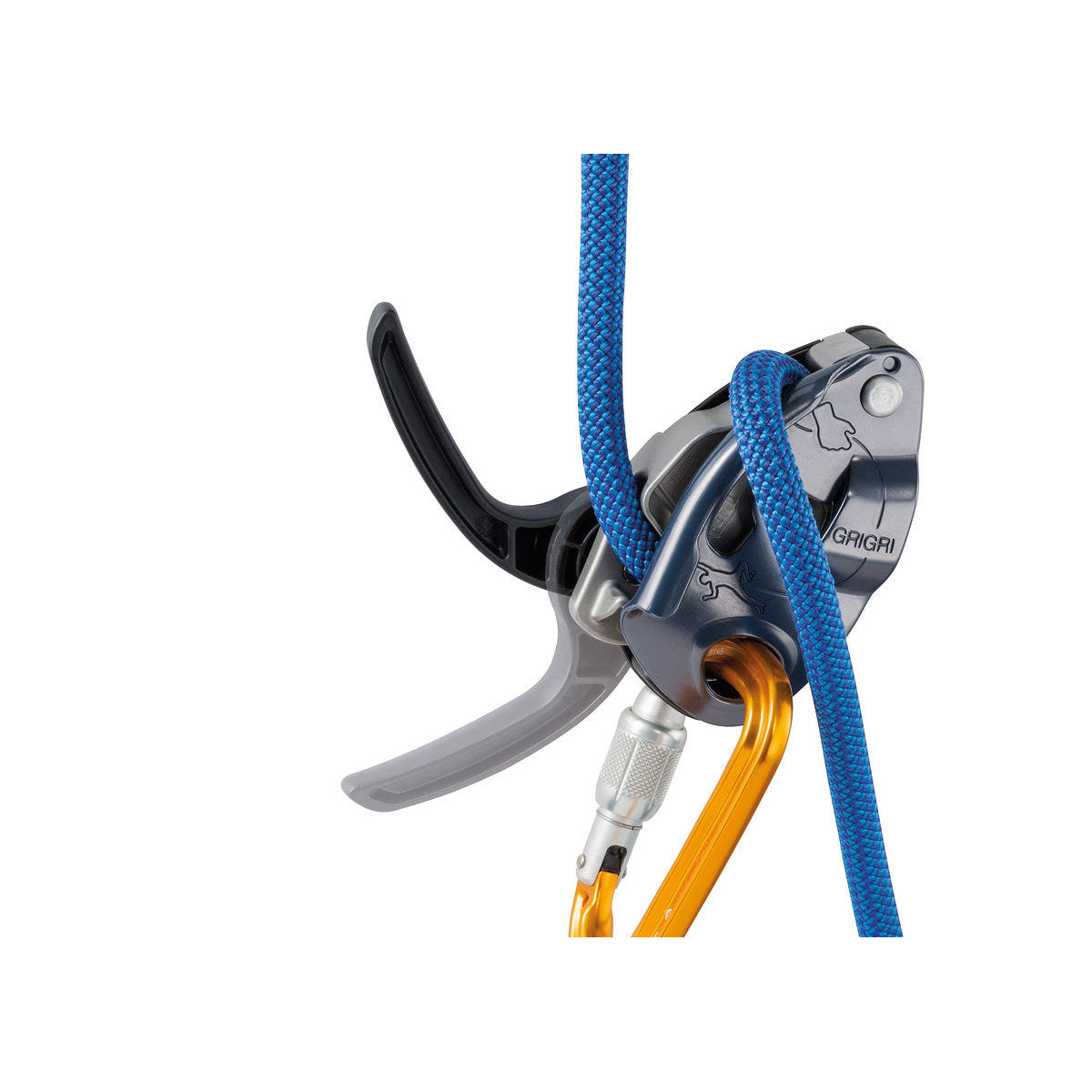 Petzl Grigri belay device in silver colour, shown in use with blue rope and yellow carabiner