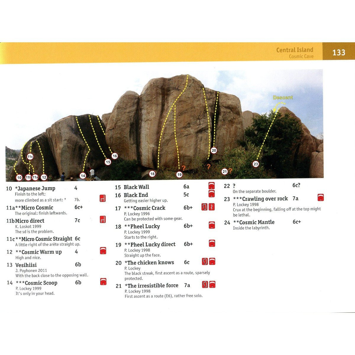 Golden Boulders: Hampi Bouldering guide, inside page examples showing topos