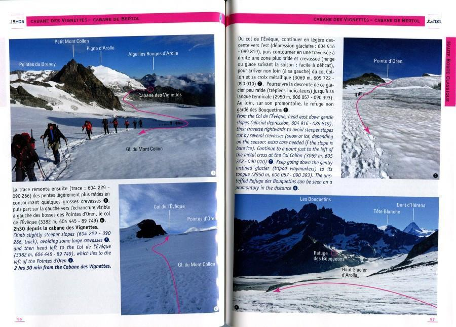 Haute Route: Chamonix-Zermatt guide, example inside pages showing photos and text