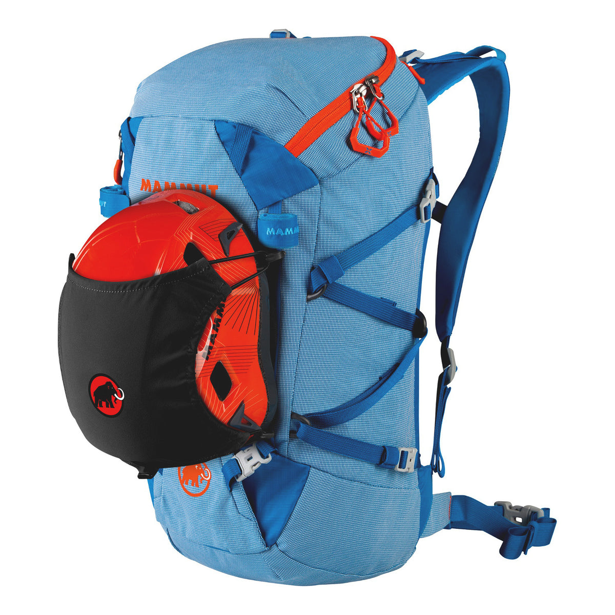 Mammut Helmet Holder shown in use with a helmet on a blue rucksack