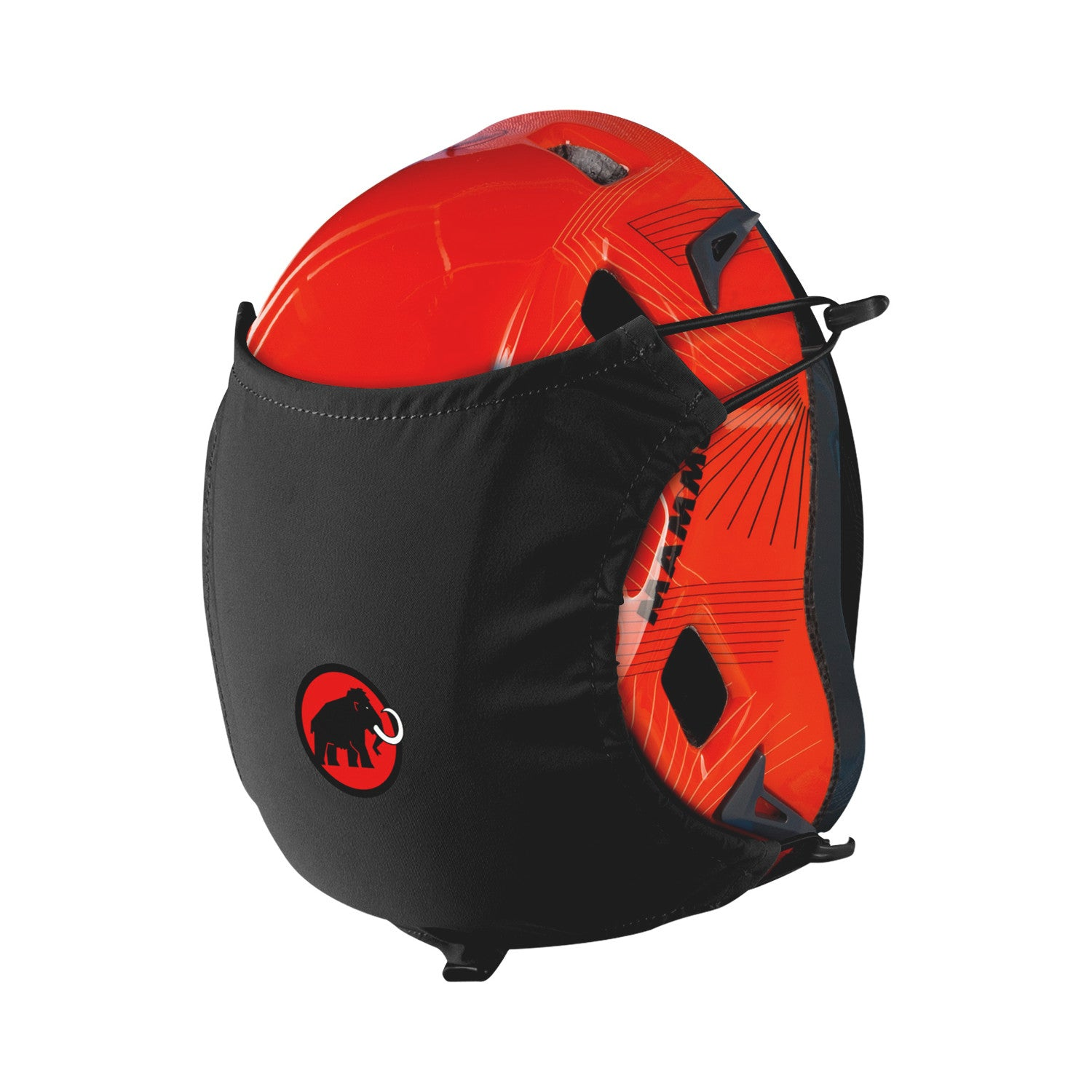 Mammut Helmet Holder, shown in black colour in use on a red climbing helmet