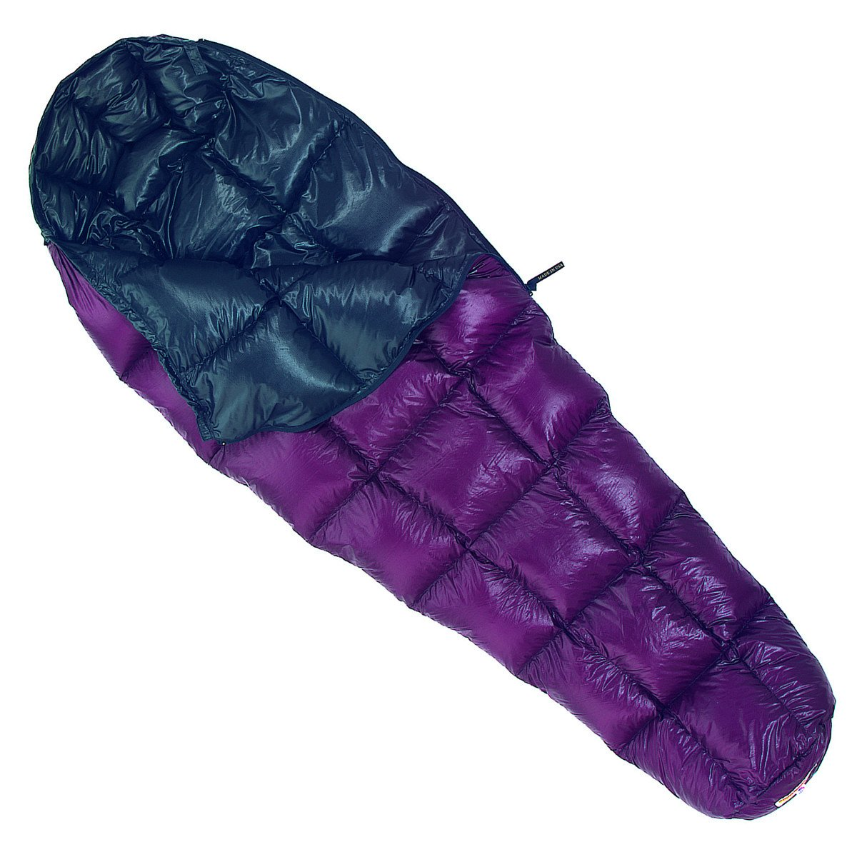 Western Mountaineering Highlite down sleeping bag partially open, in purple with black lining