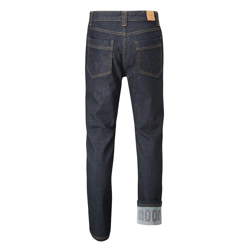 Rear of Moon Hubble X Slim Fit Denim Climbing Jeans with upturn showing logo