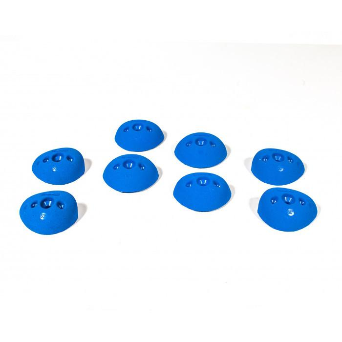 Bleaustone Training Range In-Cut 60º Crimp climbing holds, showing 8 pieces in blue colour