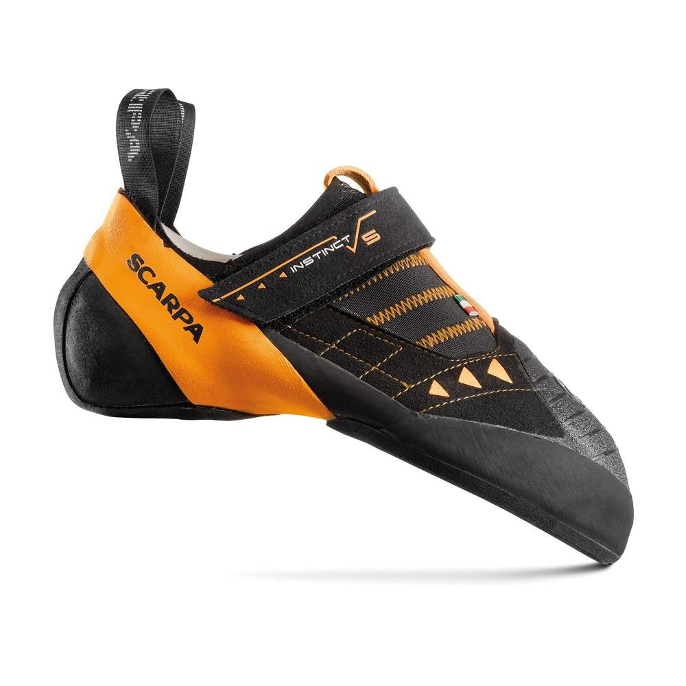 Scarpa Instinct VS climbing shoe, in black and orange colours
