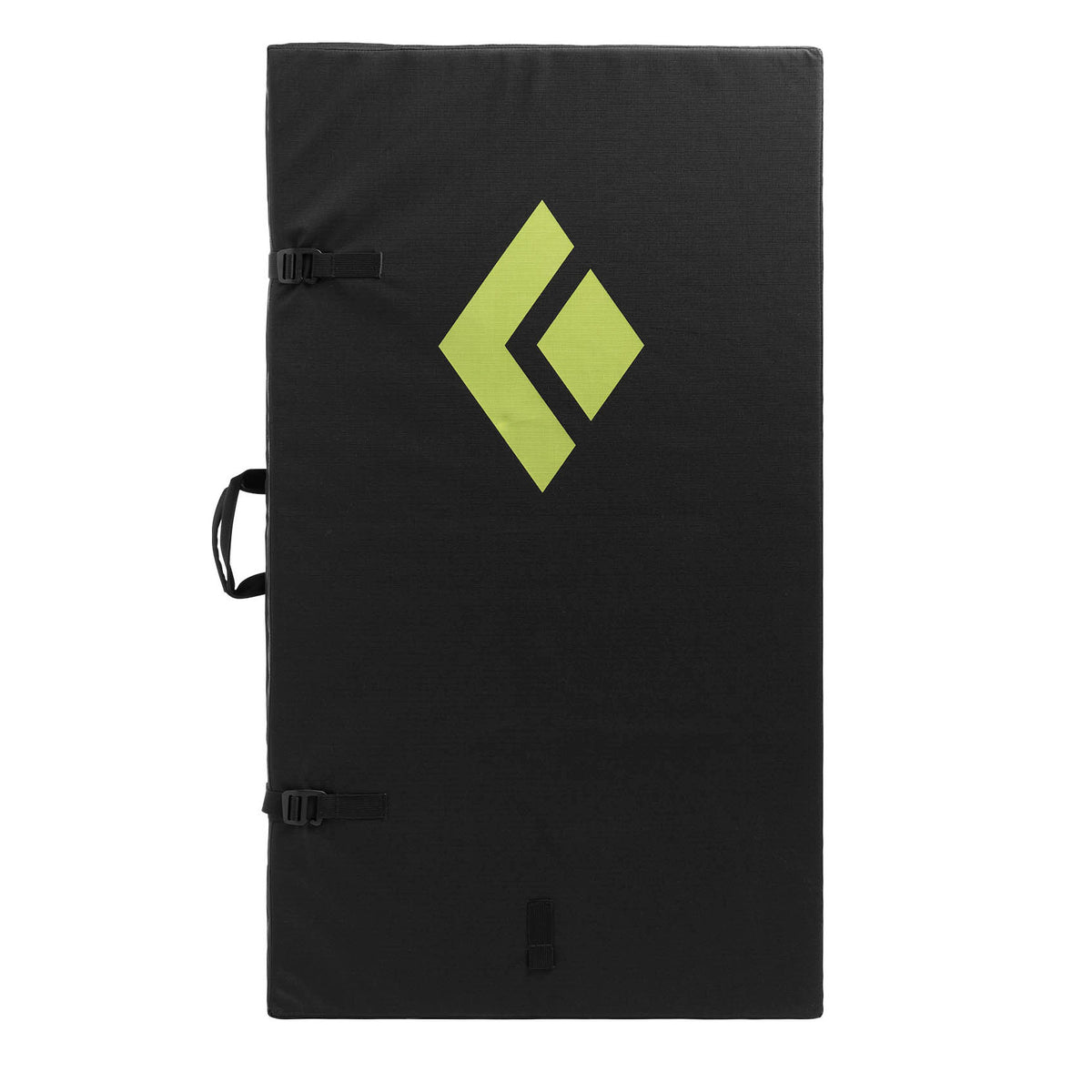 Black Diamond Impact bouldering pad, shown fully closed and stood upright with carry handle