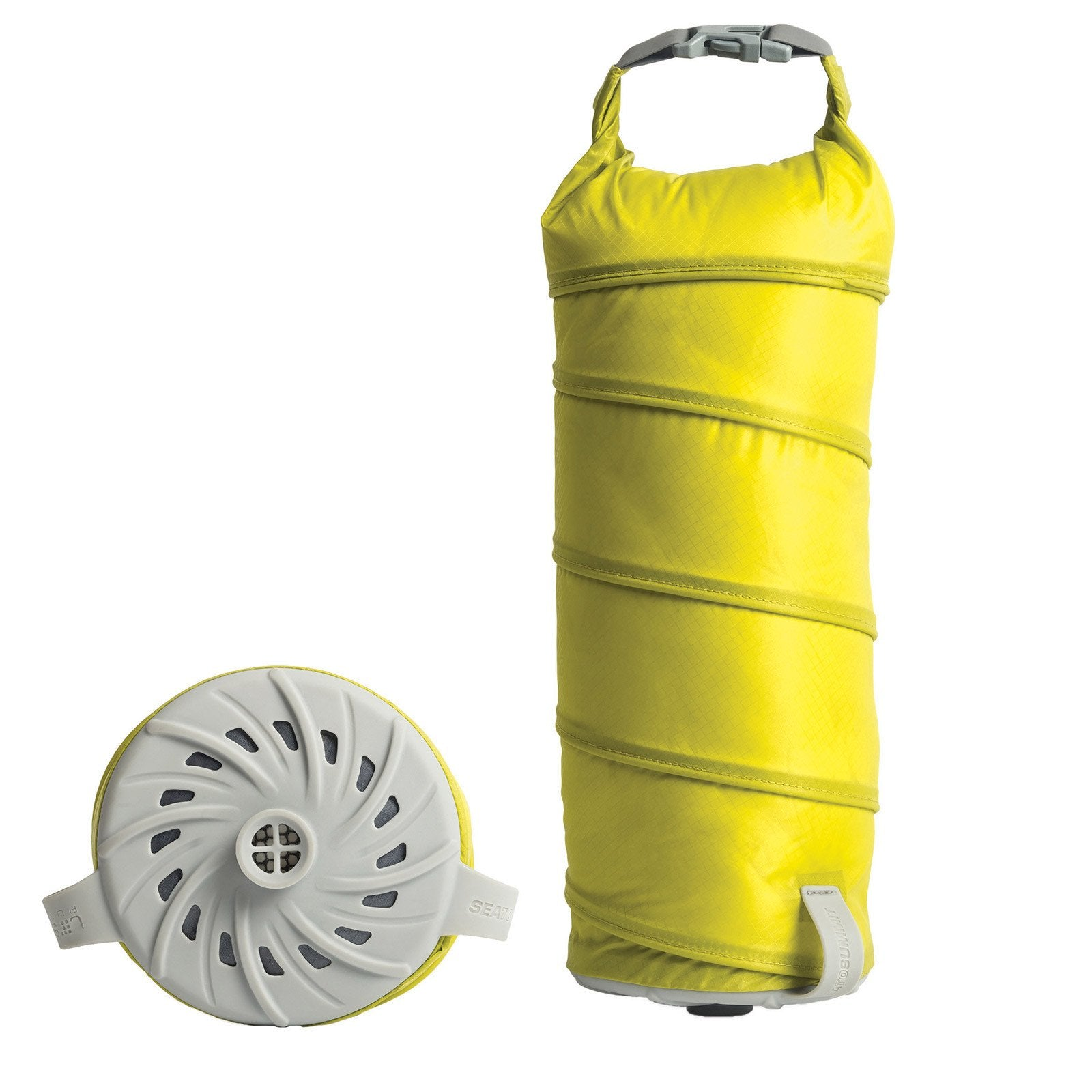 Sea to Summit Jet Stream Pump Sack, showing sack in yellow colour, and pump in grey, side by side