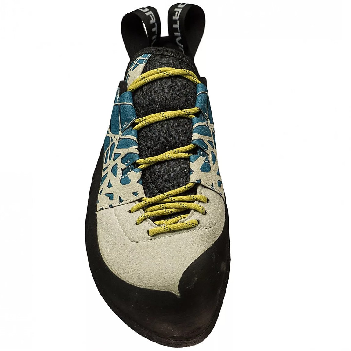 La Sportiva Kataki climbing shoe, front view showing lace detail