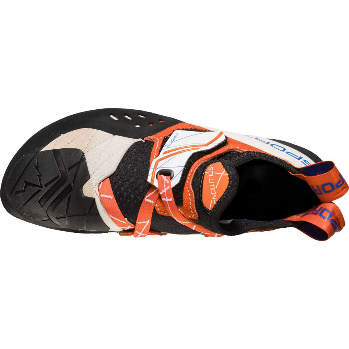 La Sportiva Solution Women's climbing shoe in a White Lilly colour as seen from above.