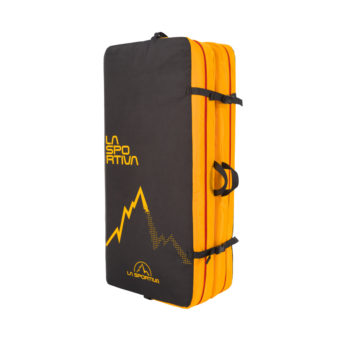 La Sportiva LaSpo Crash Pad, shown folded up in black and yellow colours
