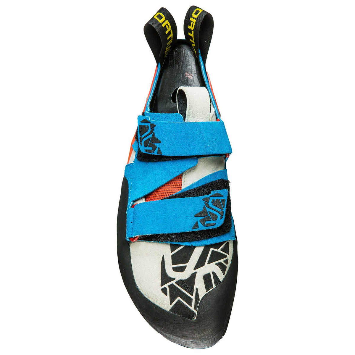 La Sportiva Otaki climbing shoe, view from above showing strap detail