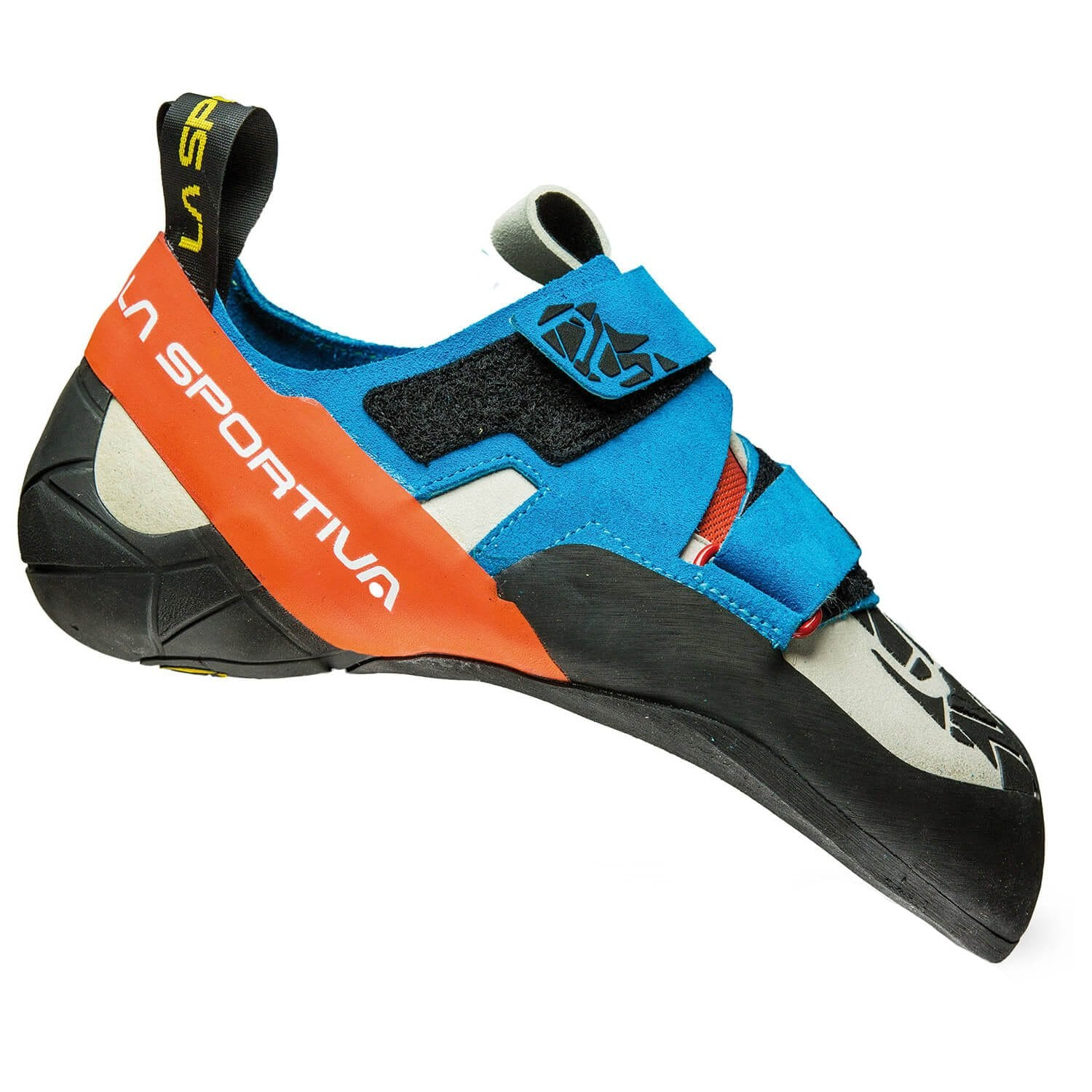 La Sportiva Otaki climbing shoe, in black, orange and blue colours