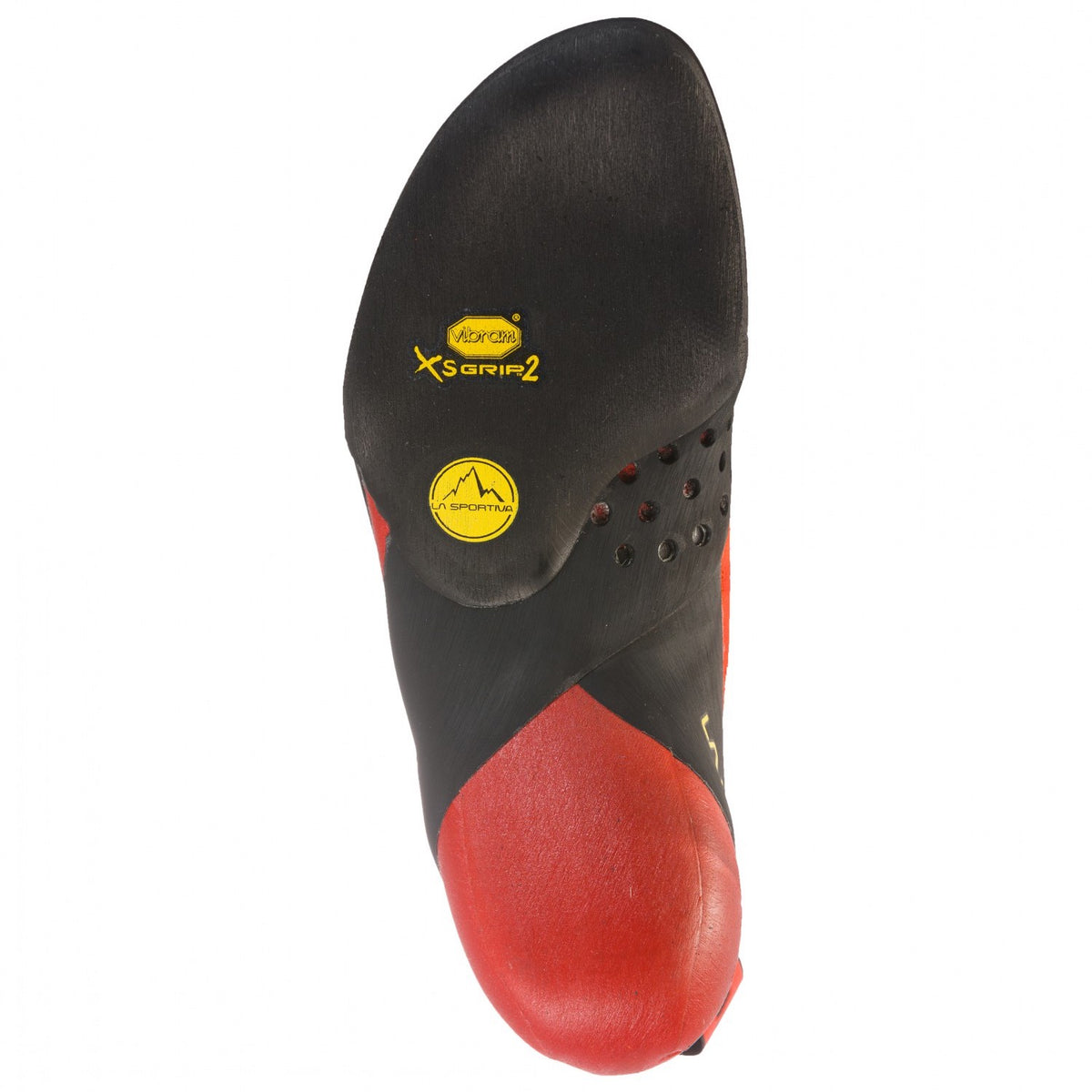 La Sportiva Testarossa climbing shoe, sole view in black and red colours