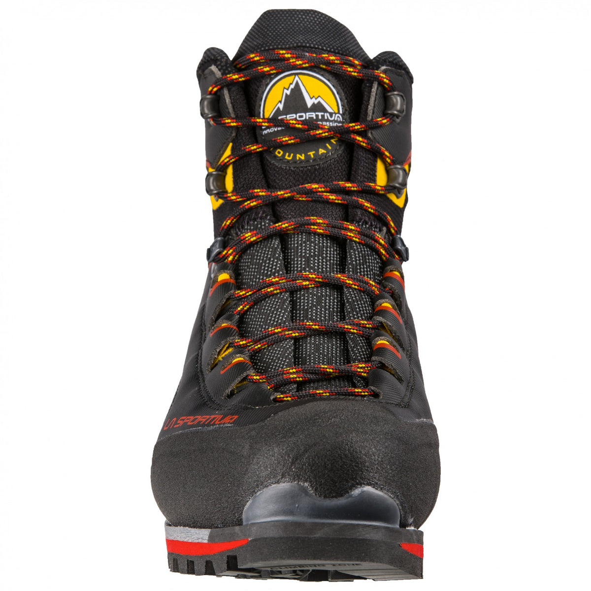 La Sportiva Trango Tower Extreme GTX mountaineering boot, view from the front showing the laces