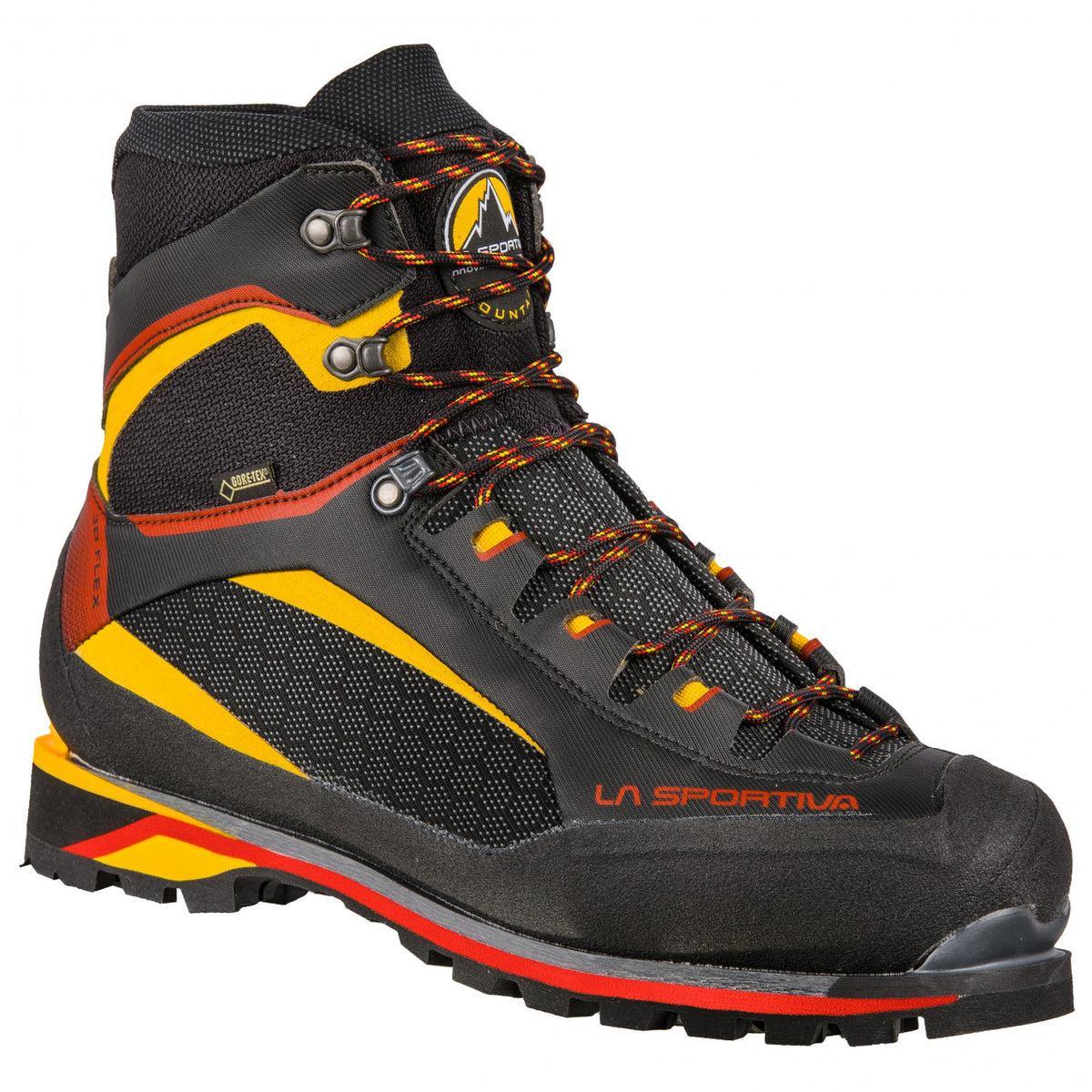La Sportiva Trango Tower Extreme GTX mountaineering boot, in black, red and yellow colours