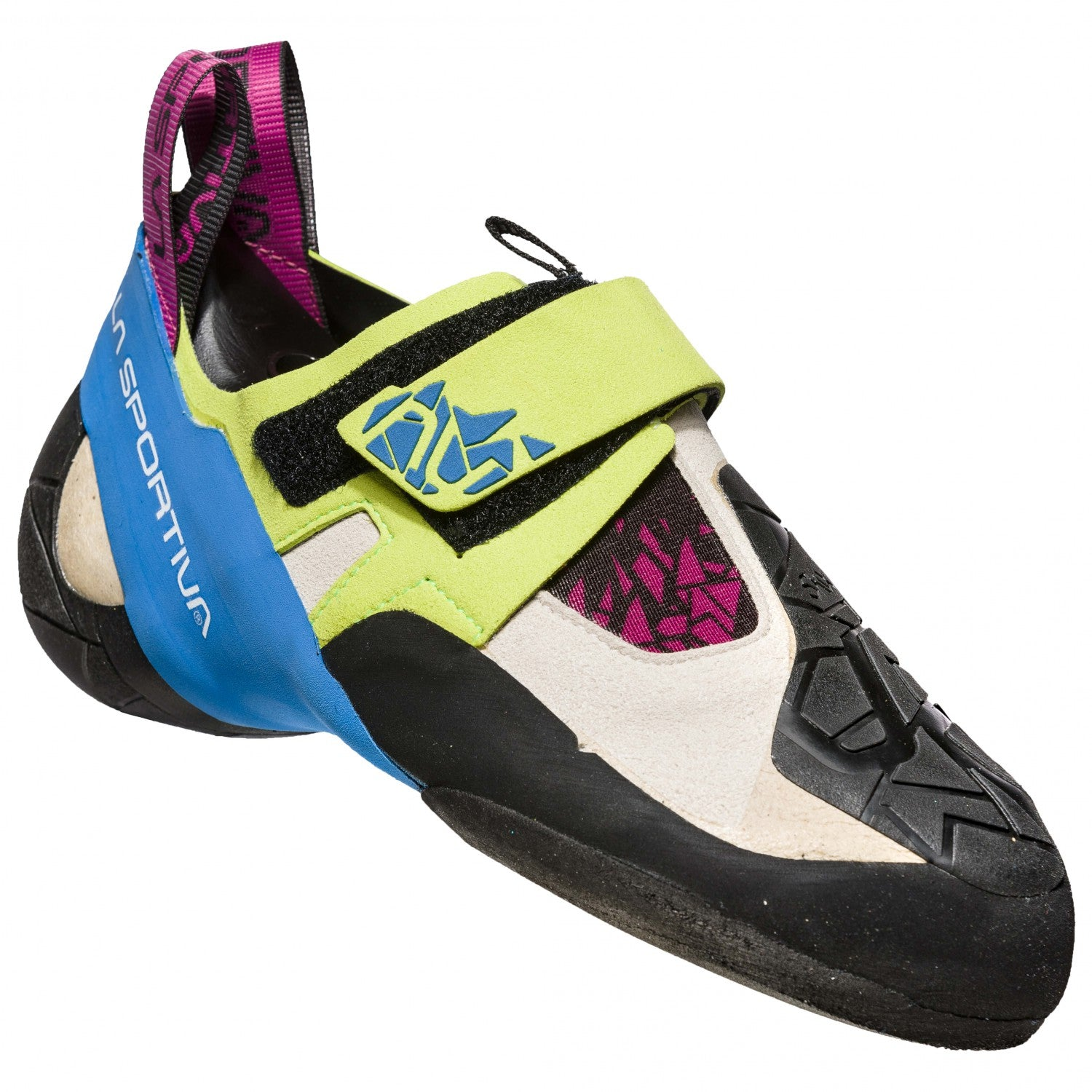 La Sportiva Skwama Women's climbing shoe, in black, blue and green colours