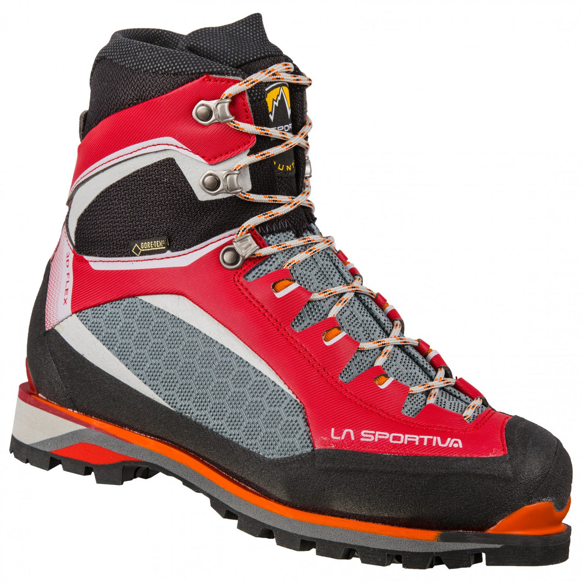 La Sportiva Trango Tower Extreme GTX Womens mountaineering boot, outer side view in Red/black/grey