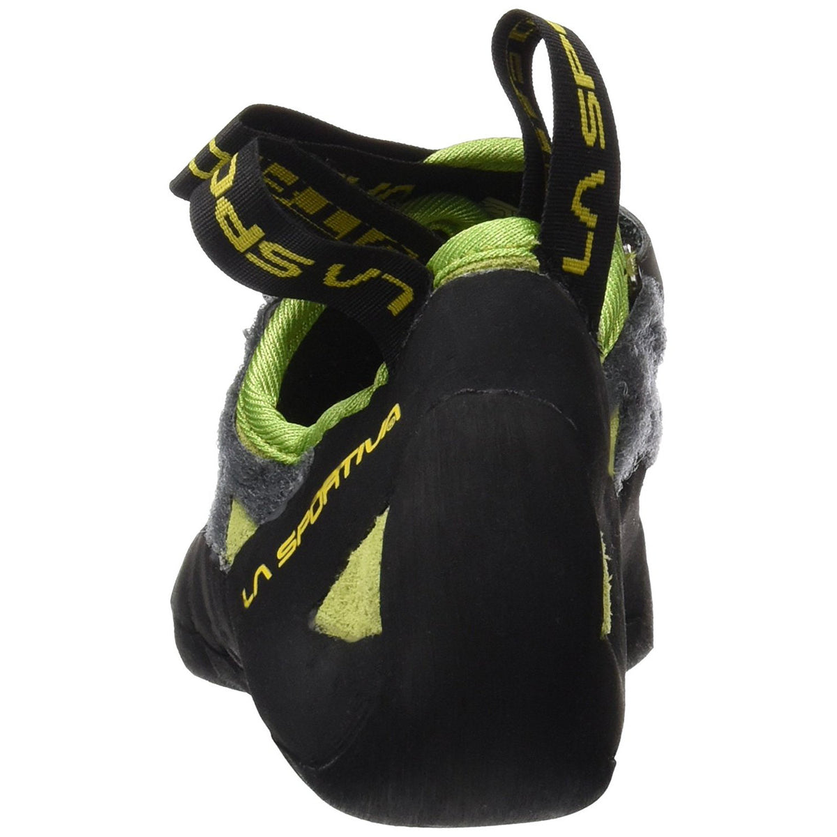 La Sportiva Tarantula climbing shoe, view from the rear showing heel design