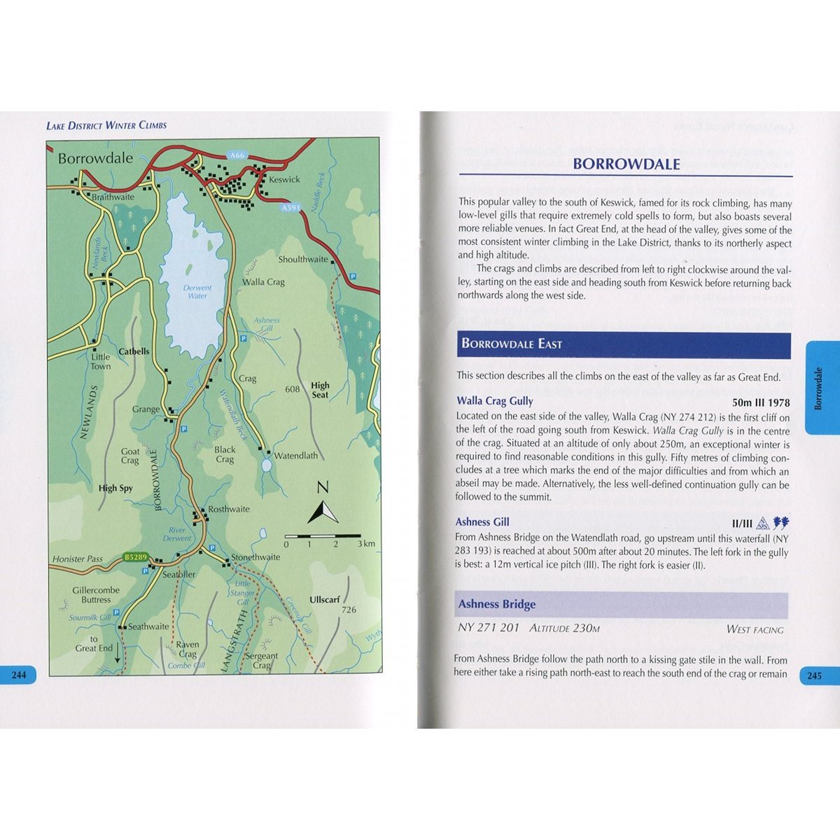 Lake District Winter Climbs, photos, maps and topo examples