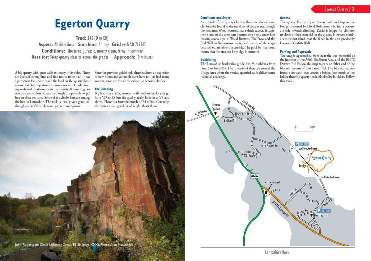 Lancashire Rock guide, map and route description examples
