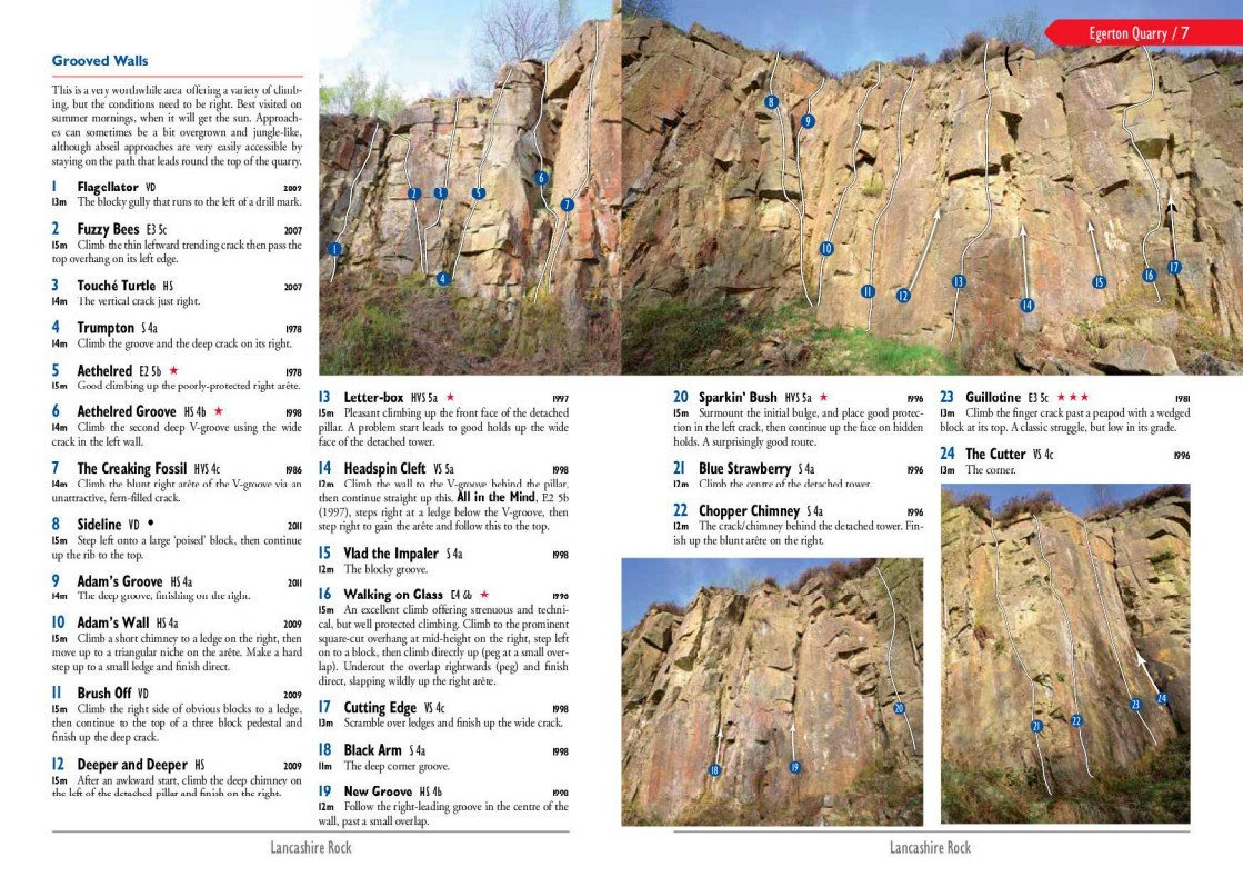 Lancashire Rock guide, photo and topo examples